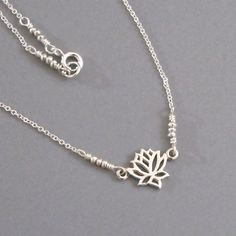 Tiny Sterling Silver Lotus Charm Chain Necklace by DJStrang