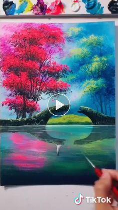 Beautiful Acrylic Painting Video Tutorial Part 102 Easy Canvas Painting, Acrylic Painting Techniques, Painting Videos, Painting & Drawing, Diy Painting, Painting Lessons, Painting Abstract, Abstract Art For Kids, Sea Art