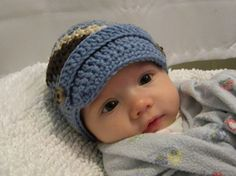 Adorable baby boy hat. Someone should make this for me or teach me how to!