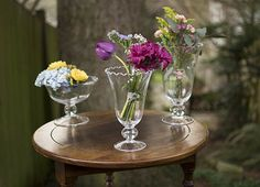 Take advantage of the full variety of our ruffled rim glassware, differing height elevations for dramatic impact.
