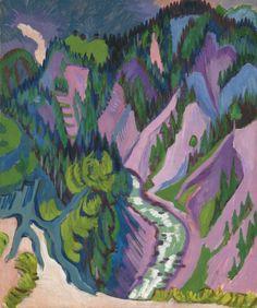 ERNST LUDWIG KIRCHNER 1880 - 1938 IM SERTIGTAL (IN SERTIG VALLEY) StampedNachlass E.L. Kirchner Da/Aa 32 on the reverse Oil on canvas 47 1...