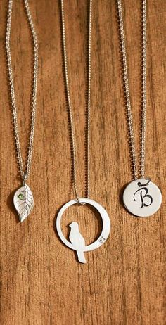 Leaf sparrow and initial necklaces. Boho chic
