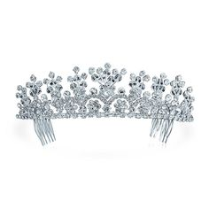 Bling Jewelry Rhinestone Flower Princess Bridal Tiara Crown Silver Plated * Read more at the image link.