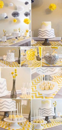 Gray and yellow chevron themed baby shower cake gray yellow dessert pom baby shower baby shower idea chevon themed theme