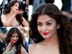 Aishwarya Rai red hot lipstick. Hot Red Lipstick, Aishwarya Rai, Makeup Looks, Make Up, Nails, Closet, Finger Nails, Armoire, Ongles