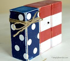 Polka Dot & Striped Flag-- do stars instead of dots 4th July Crafts, Fourth Of July Decor, 4th Of July Decorations, 4th Of July Party, July 4th, Birthday Decorations, Military Decorations, 2x4 Crafts, Wood Block Crafts