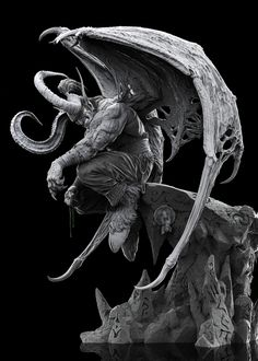 ArtStation - Illidan Stormrage, by Sheridan Doose Zbrush, Dark Fantasy, Sculpture Clay, Sculptures, Illidan Stormrage, Gargoyle Tattoo, Evil Art, Digital Sculpting, Ange Demon