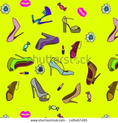Illustration of a collection of various shoes on white background / seamless texture