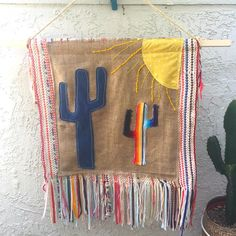 Serape cactus and sun applique vintage fringe rag rug by eclecticvintageboho on Etsy