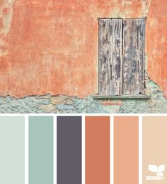 weathered hues of terra cotta, cinnamon, and watery, dreamy aqua... paired up with rich mahogany and walnut