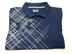 Under Armour Regular Heat Geat XL Men's Short Sleeve Blue Polo Shirt #UnderArmour #PoloRugby