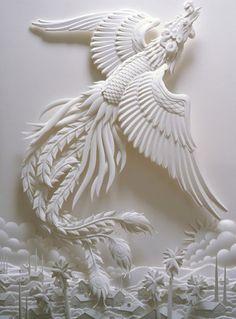 made from paper White Firebird - Scherenschnitte