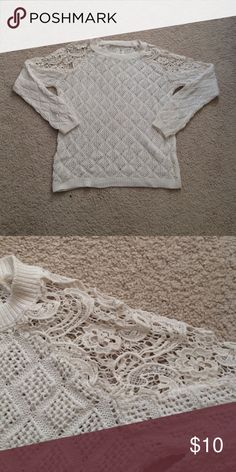 white crochet sweater This sweater is woven with crochet accents on the shoulders, super cute look with dark wash jeans. Sweaters Crew & Scoop Necks