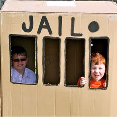 Cardboard jail - we painted ours and used it for a carnival - very fun to use a ticket and put someone in jail : )