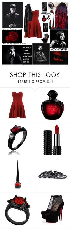 """✖ Hello, Daddy. Hello, Mom. I'm your cherry bomb! Hello world! I'm your wild girl. I'm your cherry bomb! ✖"" by blueknight ❤ liked on Polyvore featuring Christian Dior, Kat Von D, Christian Louboutin, Pieces, MusicSkins and Luna"