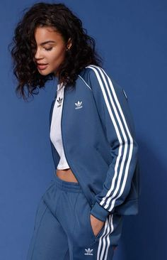 ccc6ace714597 adidas Adicolor Blue SST Track Jacket Adidas Jacket Outfit, Pants Outfit,  Adidas Hoodie,