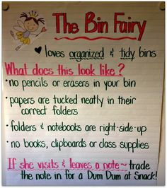 3rd Grade Thoughts: Using the Desk/Cubby/Bin Fairy to Keep Tidy & Organized