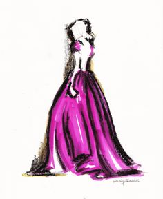 #pink #gown #dress #couture #fashion #fashionillustration #illustration #art #drawing
