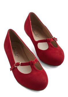 On a Stroll Now Flat in Ruby - Flat, Faux Leather, Red, Solid, Buckles, Work, Casual, Vintage Inspired, 20s, Minimal, Good, Mary Jane, Variation