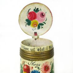 Norwegian Os Style Rosemaling Painted Wooden Lidded Tankard from sweetpeacottage on Ruby Lane