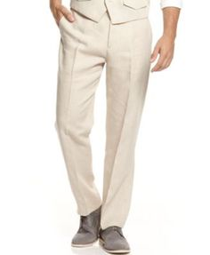 fb626895e0 Tasso Elba Men s Big  amp  Tall Solid Flat Front Linen Pants Natural Khaki  48B