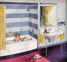 1953 Kohler Bathroom Kohler liked to feature their fixtures with adorable kids. This ad appeared in American Home. House Design Photos, Cool House Designs, Vintage Room, Vintage Decor, Vintage Ads, Vintage Prints, Vintage Style, Kohler Bathroom, Oak Bathroom
