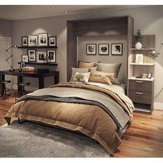 Our Best Bedroom Furniture Deals Cielo by Bestar Elite Queen Wall Bed kit (White/Grey - White Finish/Grey Finish) Queen Murphy Bed, Murphy Bed Ikea, Murphy Bed Plans, Home Bedroom, Bedroom Furniture, Bedroom Decor, Bedroom Ideas, Basement Master Bedroom, Black Furniture
