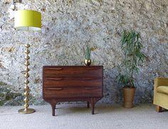 Commode scandinave palissandre de Rio vintage - commode coiffeuse  scandinave palissandre de Rio -