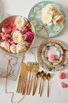 Cliveden Dinnerware - anthropologie.com.  Obsessed with the teal and gold plate and the pink and yellow plate
