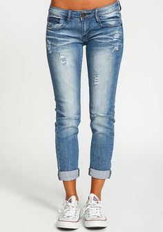 Distressed Cuffed Skinny Jeans