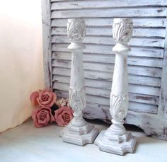 White Distressed Candle Holders Tall Shabby by WillowsEndCottage, $28.00
