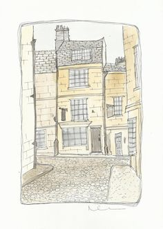 Clearance Watercolor Painting Original Drawing Pen And Ink Illustration Bath Somerset City Print