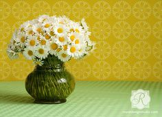 Geometric Retro Flower Furniture Stencil