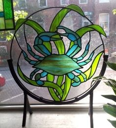 Stained glass panel Blue Crab by TerrazaStainedGlass on Etsy Making Stained Glass, Custom Stained Glass, Faux Stained Glass, Stained Glass Panels, Stained Glass Projects, Stained Glass Patterns, Free Mosaic Patterns, Leaded Glass, Mosaic Glass