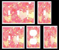 PINK AND YELLOW HEARTS GIRLS ROOM  LIGHT SWITCH COVER PLATE        #Leviton