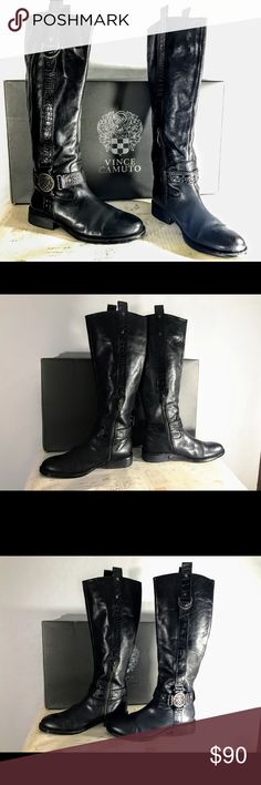 Vince Camuto Riding Boots size 8 Tall boot with buckle around ankle. Zippers on inside of ankles Vince Camuto Shoes Lace Up Boots