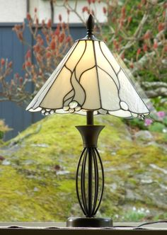 Stained Glass Lamp Shade - White Flowing Curves