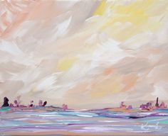 Minimalist Painting Original Seascape Acrylic Abstract Landscape 8x10 Yellow Purple Coastal Beach Painting Stretched Canvas on Etsy, $45.00