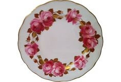 Antique Hand-Painted Rose Dessert Plate