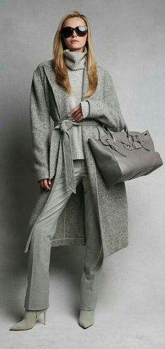 Effortless Luxe: pre-order the Fall 2015 collection crafted from sumptuous cashmere, suede, and satin in soft tonal hues women fashion outfit clothing style apparel closet ideas Mode Outfits, Casual Outfits, Fashion Outfits, Fashion Trends, Fashion Clothes, Grey Fashion, Look Fashion, Womens Fashion, Street Fashion