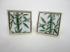 Vintage Cufflinks Toshikane Cuff Links Bamboo by LadyandLibrarian