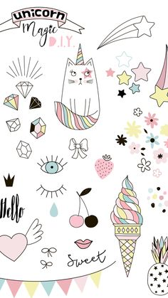Ideas Wallpaper Girly Simple For 2019 Kawaii Wallpaper, Cat Wallpaper, Tumblr Wallpaper, Disney Wallpaper, Iphone Wallpaper, Tumblr Stickers, Cute Stickers, Kawaii Drawings, Easy Drawings