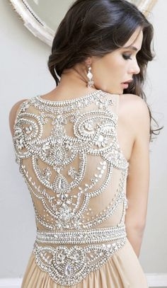 Beautiful beaded back on this wedding gown