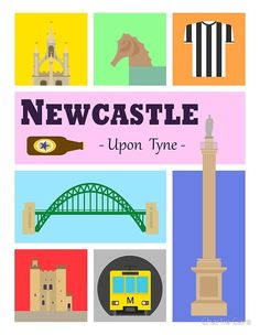 'Newcastle upon Tyne' Art Print by Charlie Care Newcastle England, Thing 1, Canvas Prints, Framed Prints, Large Prints, Travel Posters, Art Boards, My Design, Vibrant Colors