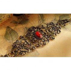 $2.89 Retro Gorgeous Style Rhinestone Decorated Openwork Flower Shape Bracelet