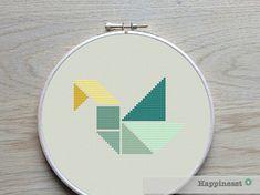 Cross stitch pattern swan Tangram modern cross von Happinesst