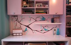 """Wall murals inspiration for kids room, """"Little birds on a tree"""" Pereti pictati dormitor copii, """"Little birds on a tree"""""""
