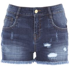 Shorts (£18) ❤ liked on Polyvore featuring shorts, denim, fringe jean shorts, distressed shorts, ripped shorts, fringe denim shorts and blue denim shorts