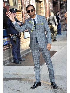 I LOVE THIS. Aziz Ansari in a PLAID SUIT!!