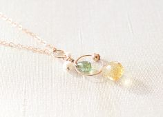 Citrine & Green Apatite & Pearl 14KPGF Necklace